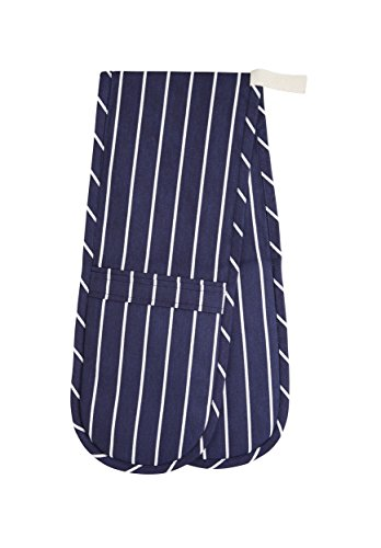 Kitchencraft Blue Butchers Stripe Double Oven Glove 100x19cm, Tagged