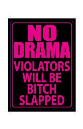 No Drama Violators Will Be Bitch Slapped Funny Novelty Tin Sign (Aphrodite Costume Child)