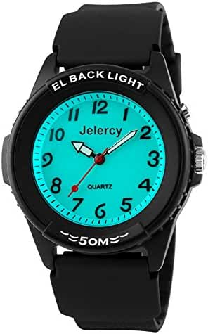 Jelercy Casual boys Analog Quartz Watch 164FT Water Resistant White Dial Arabic Numbers EL Backlight Luminous Watches Black