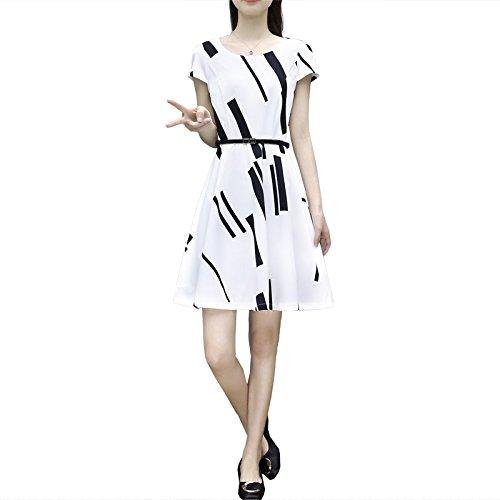 Noire Courtes Blanche Moyen Grande Femmes ray Taille Simple Slim Vtements Robe Manches Jupe Un Blanc Mousseline pour est et XL Robe de de Robes MiGMV vxB7w