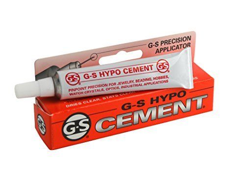 Jewelers G-S Hypo Clear Cement 9 ml w/ Precision Applicator for Beads Findings Watch Crystals Plastic Glass Metal Ceramic ()
