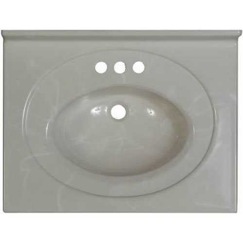 Imperial VS2519W Recessed Center Oval Bowl Bathroom Vanity Top, 25-Inch Wide by 19-Inch Deep, White Gloss Finish