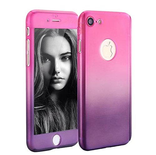 iPhone 6 Plus/6s Plus Full Body Hard Case-Aurora Black Front and Back Cover with Tempered Glass Screen Protector for iPhone 6 Plus/6s Plus 5.5 Inch (pink to purple)