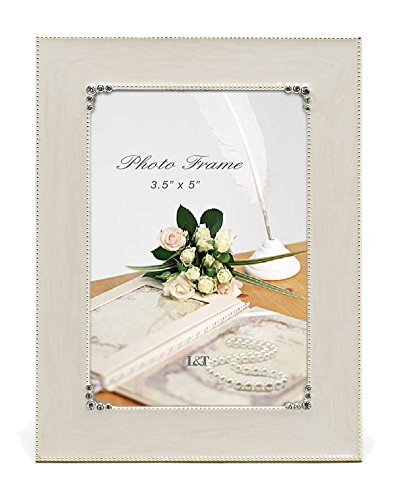 L&T Elegance Metal Picture Frame Silver Plated with Cream White Enamel and Crystals 3.5 x 5 - Photo Inch 5 Crystal