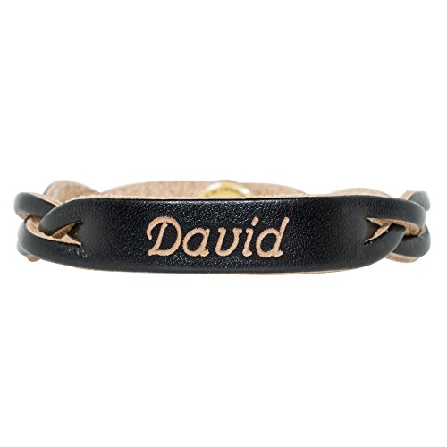 Personalized Genuine Leather Braided Bracelet - Black - Free Engraving (Small)