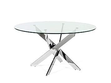 Ambiato Tisch Rund 120cm Oder 140cm Chrom Gestell Glasplatte