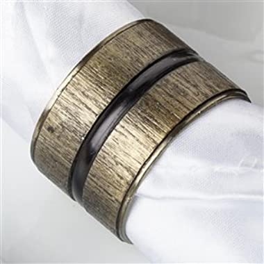 Set of Four Textured Antique Bronze Finish Napkin Rings With Obsidian Center Stripe From Top Drawer