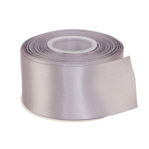 "ITIsparkle 2"" Inch Double Faced Satin Ribbon 25 Yards-Roll Set for Gift Wrapping Party Favor Hair Braids Baby Shower Decoration Craft Supplies, Grey"