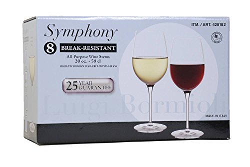 Luigi Bormioli Break-Resistant 8-All Purpose Wine Stems / Wine Glasses (20 oz size each)