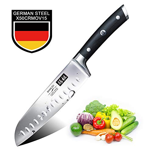 SHAN ZU Kitchen Knife, Santoku Knife 7 inch, Chef Knife Cutlery Kitchen Cooking Professional Ultra Sharp German Stainless Steel Blade for Fruit Vegetables Meats Home Restaurant Travel