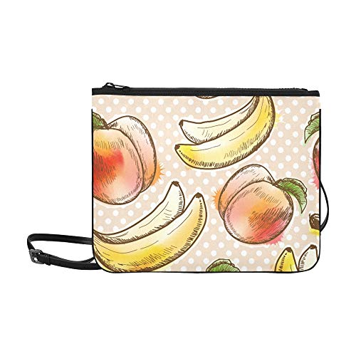 - Polka Dots Peach And Banana Pattern Pattern Custom High-grade Nylon Slim Clutch Bag Cross-body Bag Shoulder Bag