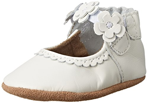 Robeez Claire Mary Jane Crib Shoe (Infant), White, 6-12 Months M US Infant