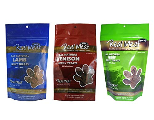 (The Real Meat Company Dog Treats Variety Pack, 6 Bags of Jerky, Beef Venison and Lamb)