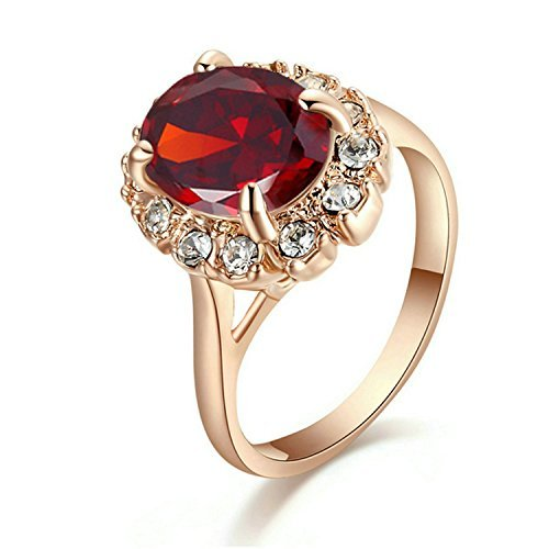 Yoursfs Red Stone Ring with Ruby Diamante Anniversary Crystal Rings Fashion...