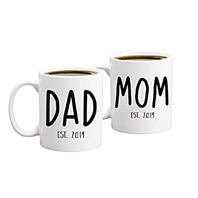 New Parents Pregnancy Announcement Coffee Mug Set 11oz - Unique Christmas Gift For Parents To Be - Perfect Present For Baby Showers - Mom and Dad Gift