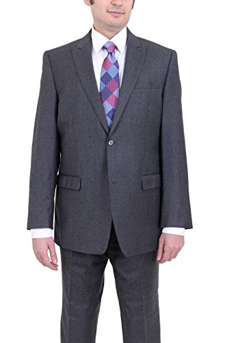 - Andrew Marc Regular Fit Solid Charcoal Gray Flannel Wool Suit with Peak Lapels
