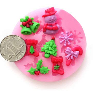 F0537 Silicone Christmas Cake Mold Fondant Soap Chocolate Mold - Bakeware & Accessories Fondant Pastry Moulds - 1 x KC-SB06 Refrigerator Storage Box -