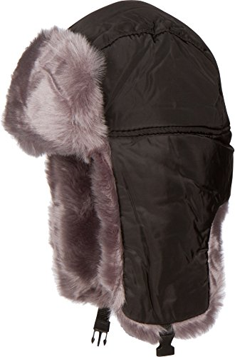 Sakkas 1769 - Martin Adjustable Casual Aviator Ushanka Trapper Hat Faux Fur Lined - Black - XL/XXL