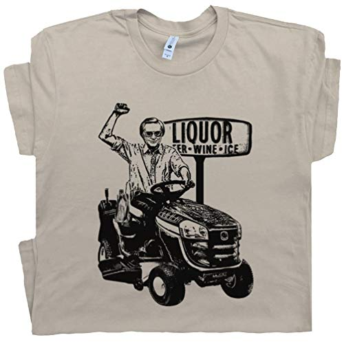 M - George Jones T Shirt Riding Lawnmower Vintage Country Music Tee Gilleys Outlaw Country Concert Club Liquor Store Tan