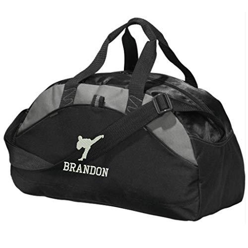 Personalized Karate Taekwondo Duffel Gym Bag - Embroidered (Black)