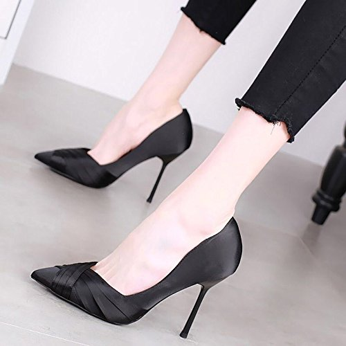 Summer Black Shoes 11Cm Fine Wedding Shoes Shoes Heel Women'S High Pointed Heels KPHY Single Spring Shoes Wild Temperament qTvtd