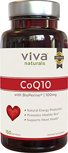 Viva Naturals CoQ10 100mg 150 Softgels - Enhanced with BioPerine for Increased Absorption Discount