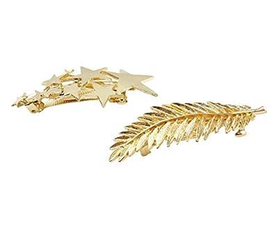 Yueton Pack of 2 Star Pred Perry Leaves Alloy Hairpin Hair Clip - Hair Spring Clip - Women Bridal Hair Accessories Headwear