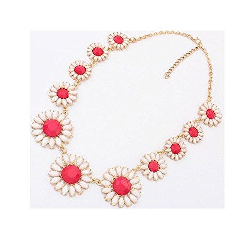 [Sunne Korean Fashion Luxury Festoon Sweet Flower Necklace(Red)] (Homemade Baby Panda Costume)