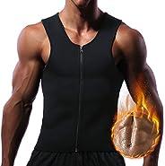 Men Waist Trainer Vest for Weightloss Hot Neoprene Corset Body Shaper Zipper Sauna Tank Top Workout Shirt, Bla