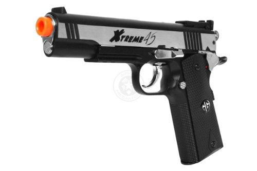 510 fps g&g full metal xtreme 45 high-powered co2 blowback airsoft pistol m1911 - silver(Airsoft Gun) by G&G