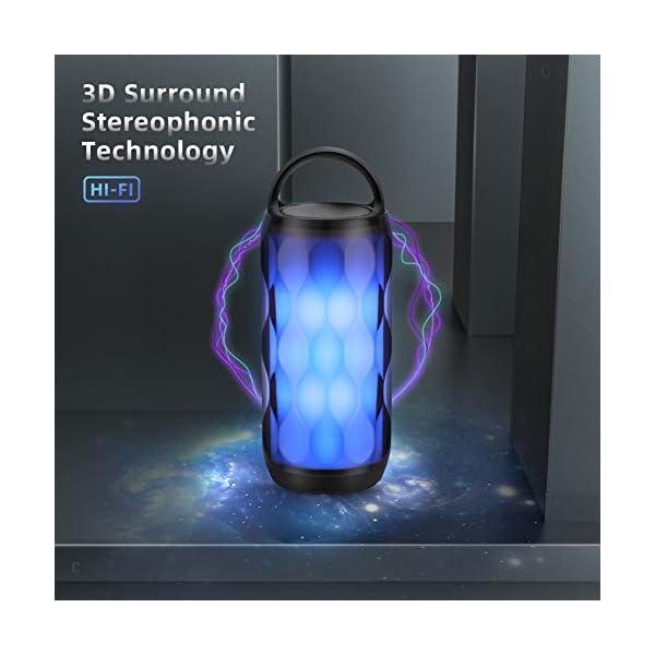 Enceinte Bluetooth Portable Haut-Parleur Bluetooth sans Fil avec 7 Modes LED Lumière AUX/SD/TF Microphone Intégré MUBYTREE 2