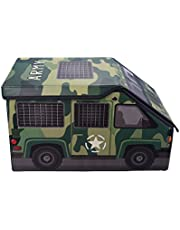 Kids Camo Army Truck Collapsible Toy Storage Organizer by Clever Creations   Toy Box Folding Storage Ottoman for Kids Bedroom   Perfect Size Toy Chest for Books, Kids Toys, Baby Toys, Baby Clothes