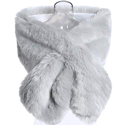 Kevins Bridal Women's Faux Fur Shawl Wraps Cloak Coat Sweater Cape for Evening Party Silver ()