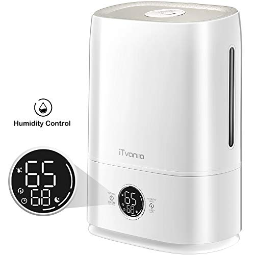 iTvanila Cool Mist Humidifier, 5L Ultrasonic Humidifier for Large Bedroom Home Baby, Automatic Humidity Keeping, LED Display with Humidistat Temperature Display (1.32 Gallon US 110V)