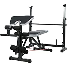 Olympic Weight Bench with Squat Rack, Preacher Curl and Leg Developer