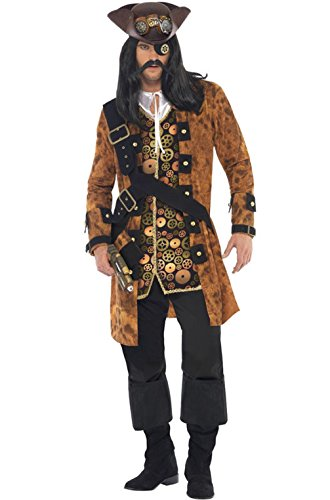 [Mememall Fashion Steam Punk Pirate Men Outfit Adult Costume] (Wicked Jester Deluxe Adult Mens Costumes)