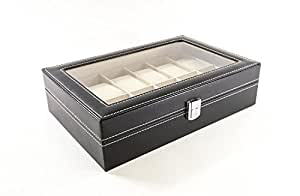 Science Purchase Watch Box Large 12 Mens Black Leather Display Glass Top Jewelry Case Organizer
