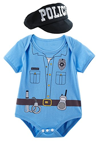 Mombebe Infant Baby Boys' Police Costume Bodysuit with Hat (3-6 Months, Police) -