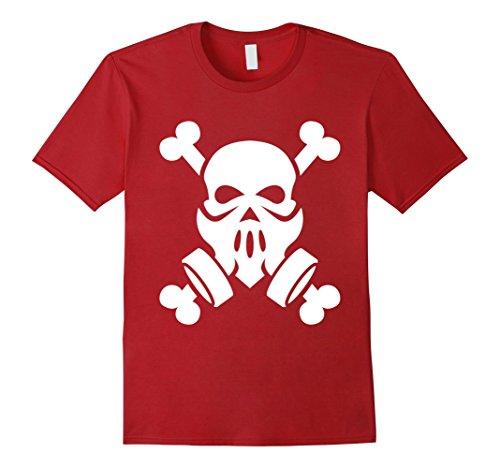 Mens Dubstep Gas Mask Skull with Crossbones T-Shirt friends Gift Medium Cranberry