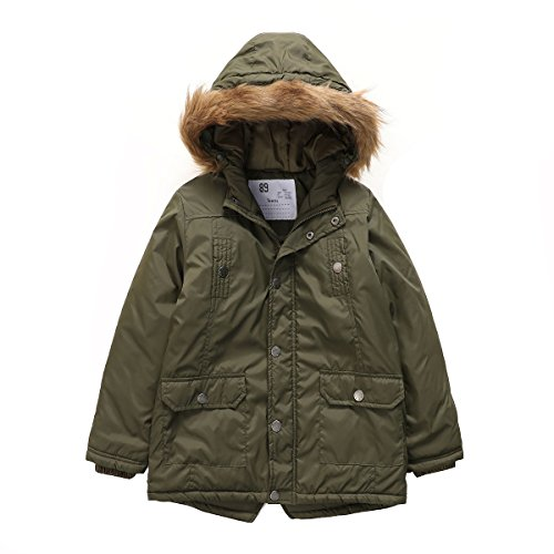 - PHIBEE Boys' Winter Windproof Cotton Faux Fur Hooded Parka Jacket Army Green 7