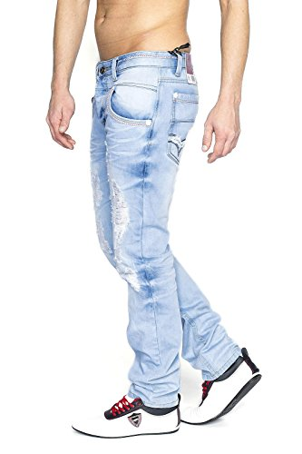 MEGASTYL Herren Hose Destroyed Jeans Hell-Blau Stone-Washed Slim-Fit 100% Baumwolle