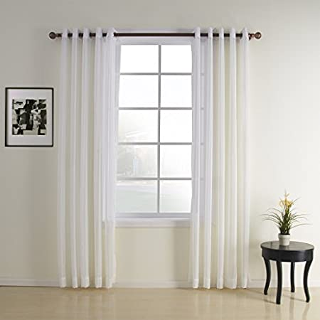 IYUEGO Jacquard White Contemporary Sheer Curtain Grommet Top With Custom Multi Size 42 W x 63 L (One Panel) I Love Curtains