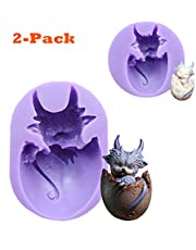 A Pair Baby Dragon Silicone Mold, Baby Dinosaur Fondant Mold Chocolate Candy Mold Sugar Craft Molds Cake Decorating Tools by Runloo