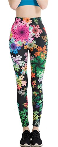Falegs Women's New Unicorn Rainbow Leggings Fitness Running Pilates Pants Stretchable (Colored Flowers, One Size) ()