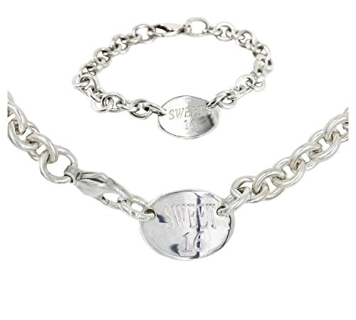 New York 925 & Co. Plated Sweet 16 Oval Necklace-Bracelet Set