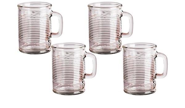 Puede con forma de vasos con mango de cristal, 17 onzas, juego de 4, transparente con base pesada Yorkshire Mason tarro cerveza zumo de agua tazas, cristal ...