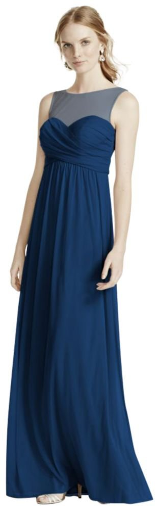 David's Bridal Long Mesh Bridesmaid Dress with Illusion Neckline Style F15927, Marine, 14 by David's Bridal