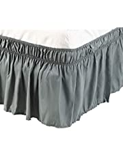 PiccoCasa Brushed Polyester Bed Skirt Wrap Around Three Fabric Sides Elastic Dust Ruffle, Easy Fit Wrinkle - with 15 Inch Drop Gray Double