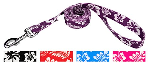 Country Brook Design 1 Inch Purple Hawaiian Dog Leash - 6 Foot