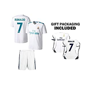 Christiano Ronaldo #7 Kids Soccer Jersey Set Shirt Shorts CR7 Bag Ultimate Fan Gift for Boys & Girls